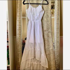 Xs white high low dress